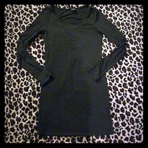 Small black dress with long sleeves.